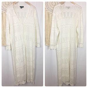 LRL White Cream Long Sleeve Maxi Knit Cardigan 3X
